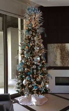 Silver And Blue Christmas Tree Decor Designed By Steven Bowles Creative Naples FL Stevenbowlescreative