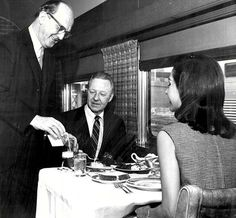 Image detail for -... TRAINS - DINNER ON SANTA FE SUPER CHIEF - PEOPLE HAVING DINNER - 1970