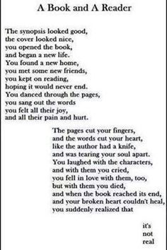 This is exactly what happens when you read a book; this is perfect!!