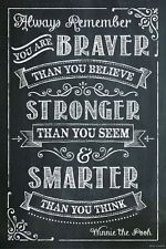 Primitive Black Chalkboard Wood sign YOU ARE BRAVER THAN YOU BELIEVE Home Decor