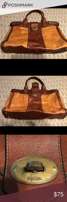 LARGE LEATHER FOSSIL TOTE Some cometic damage (pictured) Fossil Bags Totes