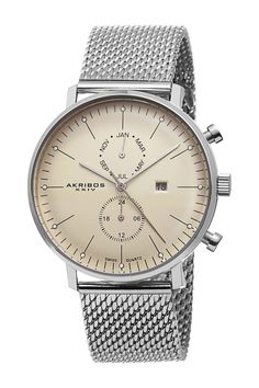 Akribos XXIV Men's Swiss Quartz Mesh Bracelet Watch on HauteLook