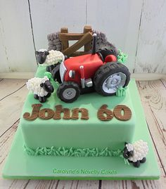 A Tractor birthday cake Farmer Birthday Cake, Tractor Birthday Cakes, 60th Birthday Cakes, Birthday Cakes For Women, Tractor Cupcakes, Childrens Cupcakes, Sheep Cake, Farm Cake, Just Cakes