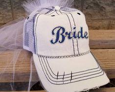 Baseball Bride Hat, Baseball Bachelorette Party Bride Trucker Hat-customized for any team - Sophie World Softball Wedding, Golf Wedding, Sports Wedding, Mom Hats, Bachelorette Party Themes, Team Bride, Baseball Hats, Baseball Mom, Bride Gifts