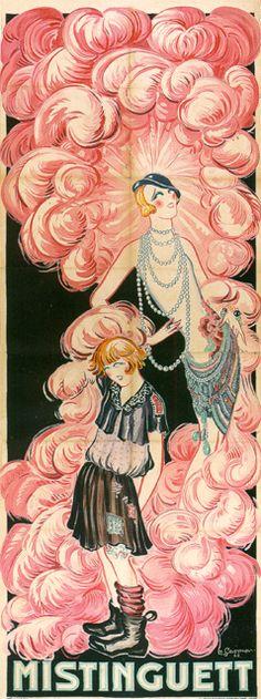 Mistinguett Rags To Riches Giclee vintage French cabaret advertising poster Art Vintage, Vintage Posters, Art Nouveau, Folies Bergeres, Art Deco Illustration, Art Deco Posters, Expo, Art Graphique, Art Deco Fashion