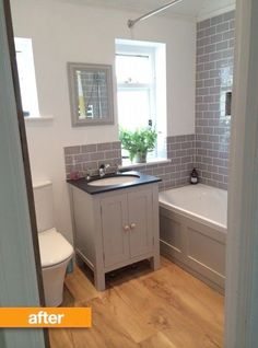 Before & After: Naomi's Beautiful British Bathroom | Apartment Therapy. I like the gray subway-style tiles.