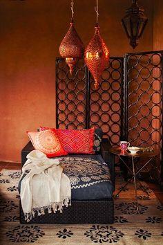 colors - orange, peach, indigo, love lights and rug