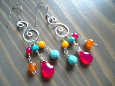 Metalwork Handforged Sterling Silver Colorful Earrings, Hippie Bohemian Jewelry