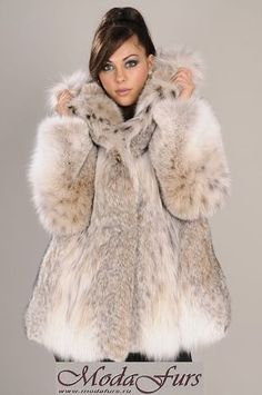 Brand new Lynx jacket with hood from Canadian Lynx skins with cities (legal) Fur Fashion, Autumn Fashion, Womens Fashion, Lynx, Fur Jacket, Hooded Jacket, Stunning Brunette, Fabulous Furs, Fur Trim