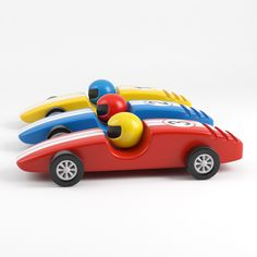 3d model wooden racing cars