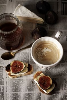yum! coffee, with fig and brie toast