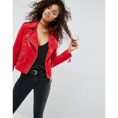 ASOS Suede Biker Jacket (£90) ❤ liked on Polyvore featuring outerwear, jackets, red, suede moto jacket, red biker jacket, tall motorcycle jacket, asos jackets and studded jacket