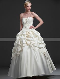 Sweetheart Beaded Satin Ball Gown with Pick Ups and Bow Back