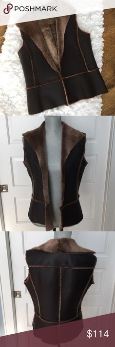 Linda Allard Ellen Tracy 100% leather vest sz 6 EUC designer quality 100% leather vest lined w/fur.  Absolutely beautiful vest to compliment your wardrobe.  So many ways to style. Ellen Tracy Jackets & Coats Vests