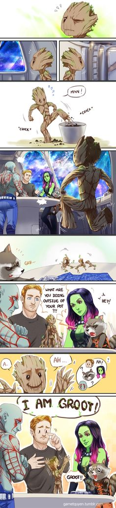 Baby Groot�Peter looks so pround! And Rocket may feel like his toddler just learned to talk :) Baby Groot is so precious! Marvel Jokes, Marvel Dc Comics, Heros Comics, Funny Marvel Memes, Bd Comics, Dc Memes, Funny Memes, Hulk Funny, Baby Groot