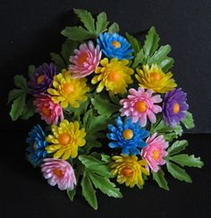 Vintage 1960's 1970's Fake PLASTIC FLOWER Ring - Colorful Artificial FLOWERS for Candle Decorations - Old Store Stock