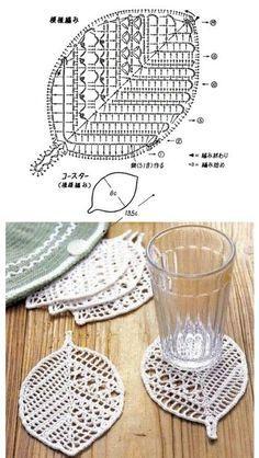 모티브도안100 / 코바늘 나뭇잎 모티브뜨기