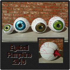 Eyeball pumpkins Halloween Eyes, Halloween 2019, Halloween Pumpkins, Halloween Crafts, Halloween Decorations, Halloween Party, Halloween Costumes, Painting Pumpkins, Pumpkin Painting