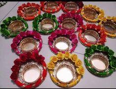 Diya Rangoli, Diwali Diya, Diwali Craft, Rangoli Ideas, Diwali Candle Holders, Diwali Candles, Candle Holder Decor, Diwali Decoration Items, Thali Decoration Ideas