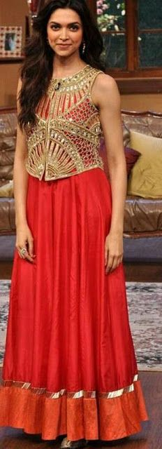 Bollywood actor Deepika Padukone during the promotion of film Chennai Express on the sets of Colors TV Serial Comedy Nights with Kapil at Filmcity. Indian Wedding Guest Dress, Indian Wedding Outfits, Indian Outfits, Indian Clothes, Party Wear Dresses, Dress Outfits, Moda Indiana, Indian Bridal Lehenga, Indian Attire