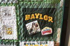 #Baylor University t shirt quilt, custom made using photos and memory items. $300.00, via Etsy.