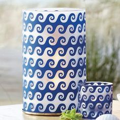Jonathan Adler for PartyLite Aegean Waves Hurricane and matching votive holder -- who is ready for summer? This Girl is!