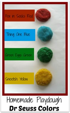 Homemade Playdough in Dr Seuss Colors