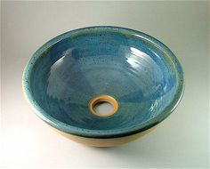 Pottery Bathroom Sink - Glossy Blue-Green With Natural Clay Outer Edge / Handmade Ceramic Sink