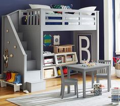 Bunk beds are great for siblings and sleepovers. Shop Pottery Barn Kids' bunk beds and loft beds for kids with functional and sturdy styles. Kids Bedroom Boys, Boy Room, Kids Rooms, Kids Bunk Beds, Loft Beds, Attic Renovation, Attic Remodel, Decorate Your Room, My New Room