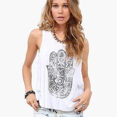 women blouses shirts  summer 2016 Hamsa tops camisa blusas ropa mujer  vetement femme blouse sleeveless hand print roupas shirt