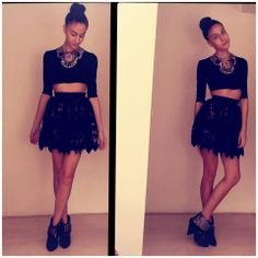 Rocking that lace skirt by AS