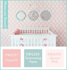 The Power of Paint: Stencil $38 for a pink quatrefoil design in the nursery, that's repeated with the aqua mirrors.