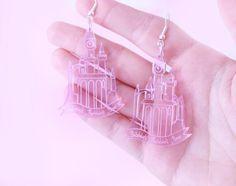 Castle Earrings in Pink