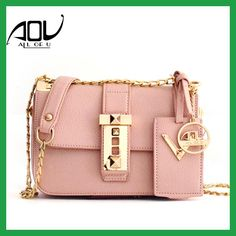 AOU Fashion Women's bags Lady Pink Crossbody Bags 2017 Summe Designer Leather Shoulder bag Retro PU Leather Flap bag sac a main