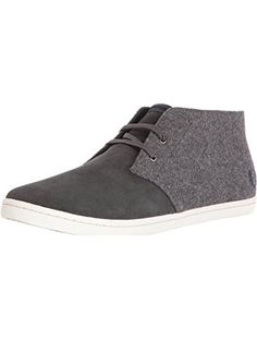 Fred Perry Men's Byron Mid Wool / Suede Chukka Boot, Anchor Grey/Navy, 9.5 UK/10.5 D US ❤ Fred Perry