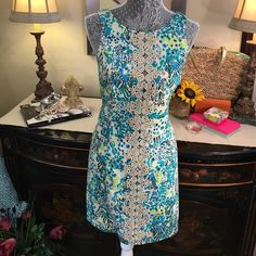 """Lilly Pulitzer New With Tags  Metallic Shift Dress Lilly Pulitzer Brand new with Tags Gorgeous Seoat  Ember Metallic Turquoise Shift Dress! Bust 16"""" Flat/ Waist 14.5/ Hips 17"""" Length 35"""" Lilly Pulitzer Dresses Midi"""