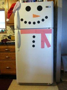 Easy kid craft: Snowman fridge! Definetly doing this this Christmas!
