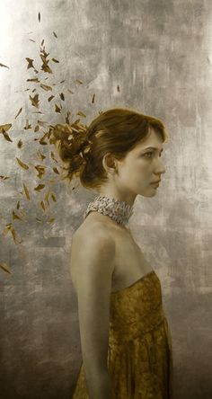 The Arrangement.  34 x 18 inches. Oil and silver leaf on wood. Private collection.