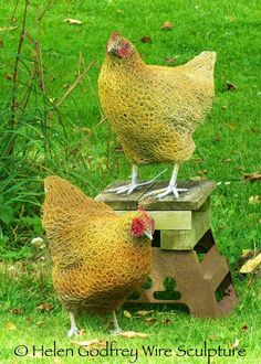 Helen Godfrey Wire Sculpture - don't these chooks would do too much damage to my garden!