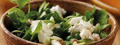 Garden Pea and Salted Yoghurt Minted Salad Mint Salad, Cress, Greek Yoghurt, Feta, Salad Recipes, Spinach, Cabbage, Salads, Vegetarian