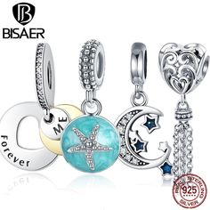 148f57c770 US $4.55 5% OFF Aliexpress.com : Buy BISAER Starfish Moon Charms 925  Sterling Silver Summer Sea Starfish Moon STARS Pendants Charms Fit Bracelet  Beads ...