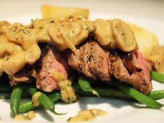 Steak Strips & Creamy Mushroom Sauce Creamy Mushroom Sauce, Creamy Mushrooms, Stuffed Mushrooms, Dinner Box, Lamb Ribs, Strip Steak, Pork, Beef, Meals