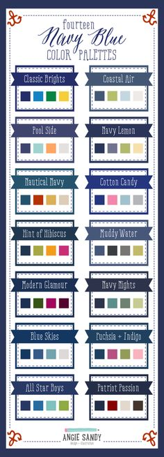 14 Navy Blue Color Palettes by Angie Sandy Design Blue Colour Palette, Navy Blue Color, Colour Schemes, Color Combos, Colour Palettes, Color Pallets, Color Theory, Room Colors, House Colors