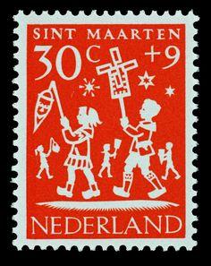 1961 Hil Bottema | oranje | Sint Maarten, kinderen, lampion