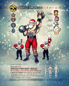 shoulder exercise: kettlebell shoulder press - savage santa