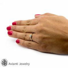 Ring Bezel Set Ring Yellow Gold Aqua Engagement by AviantiJewelry