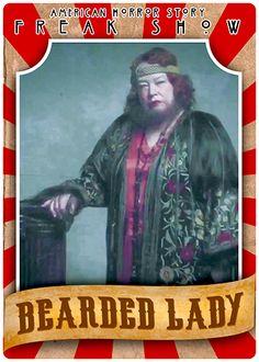 "AHS: Freak Show - Kathy Bates as Ethel Darling, the ""Bearded Lady"" Halloween Circus, Halloween 2016, Ahs, Scary, Creepy, American Horror Story Freak, Bearded Lady, Character And Setting, My Sun And Stars"