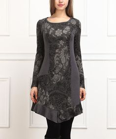 Look at this Charcoal Floral Long-Sleeve Dress on #zulily today!