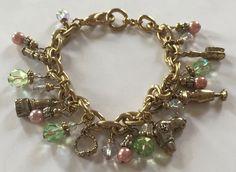 "Vintage Charm Bracelet Beauty Parlor Nail Polish Hair Dryer Brush 925 Crown 8"" | eBay"