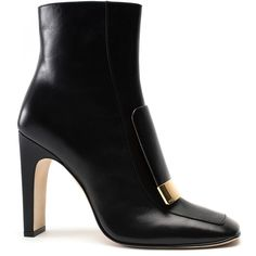 Sergio Rossi     The SR1 Ankle Boot (8 925 SEK) ❤ liked on Polyvore featuring shoes, boots, ankle booties, heels, sergio rossi, black, short black boots, black ankle boots, high heel ankle booties and black leather bootie
